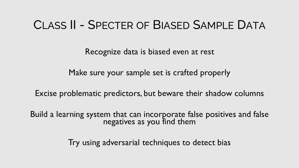 CLASS II - SPECTER OF BIASED SAMPLE DATA Recogn...
