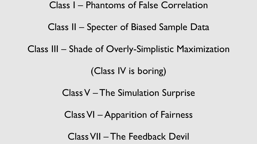 Class I – Phantoms of False Correlation Class I...