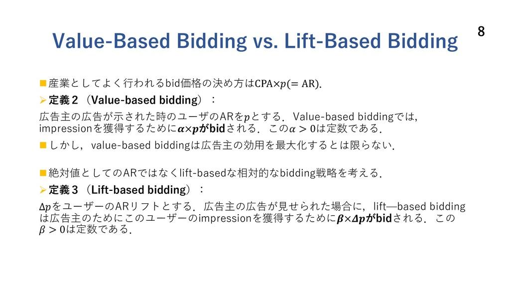 Value-Based Bidding vs. Lift-Based Bidding n 産業...