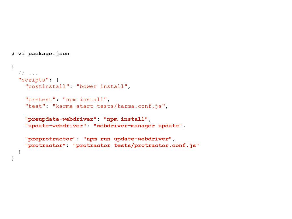 "$ vi package.json { // ... ""scripts"": { ""postin..."