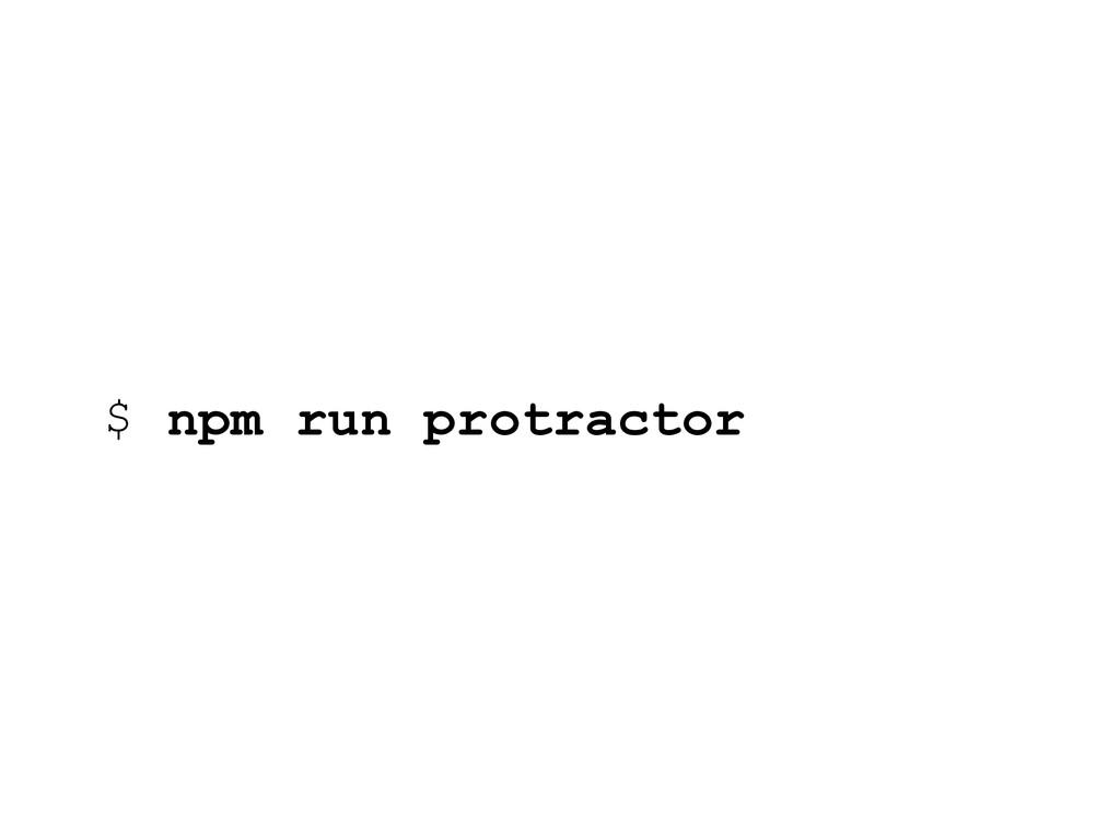 $ npm run protractor