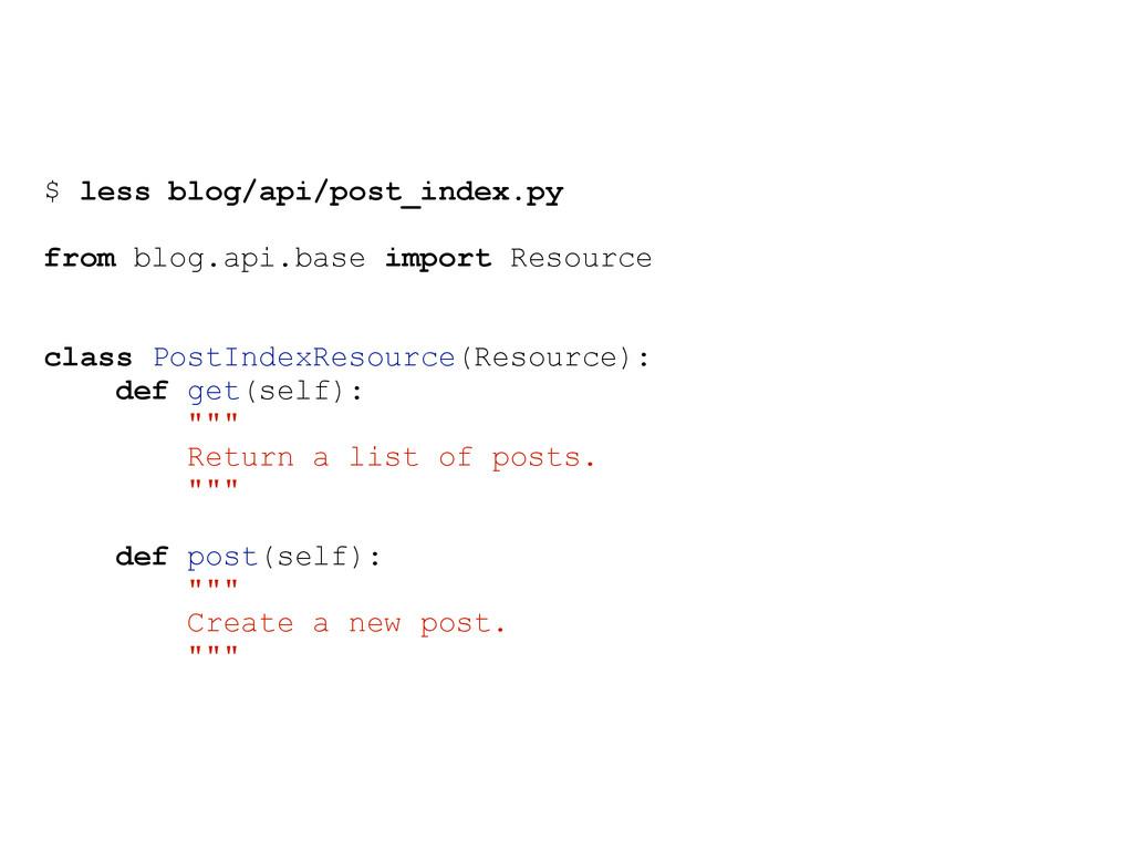 $ less blog/api/post_index.py from blog.api.bas...