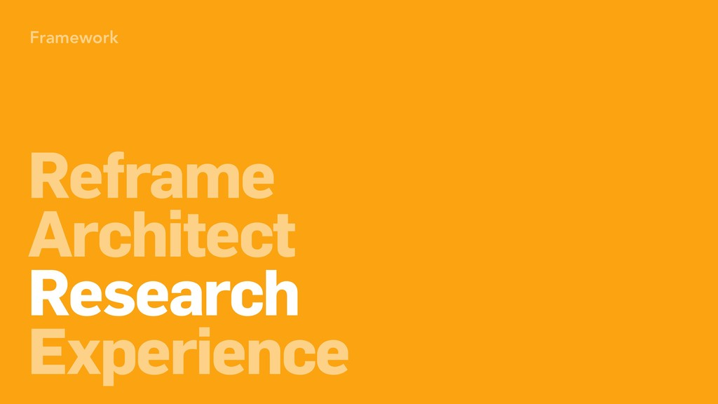 Framework Reframe Architect Research Experience...