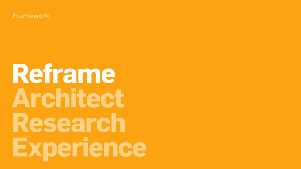 Framework Architect Research Experience Reframe