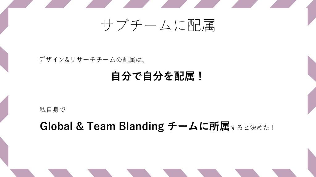 サブチームに配属 Global & Team Blanding チームに所属すると決めた! デ...
