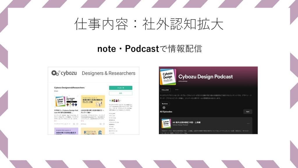 仕事内容:社外認知拡⼤ note・Podcastで情報配信
