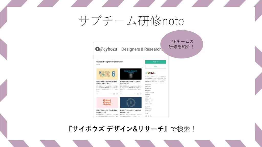 サブチーム研修note 『サイボウズ デザイン&リサーチ』で検索! 全6チームの 研修を紹介!