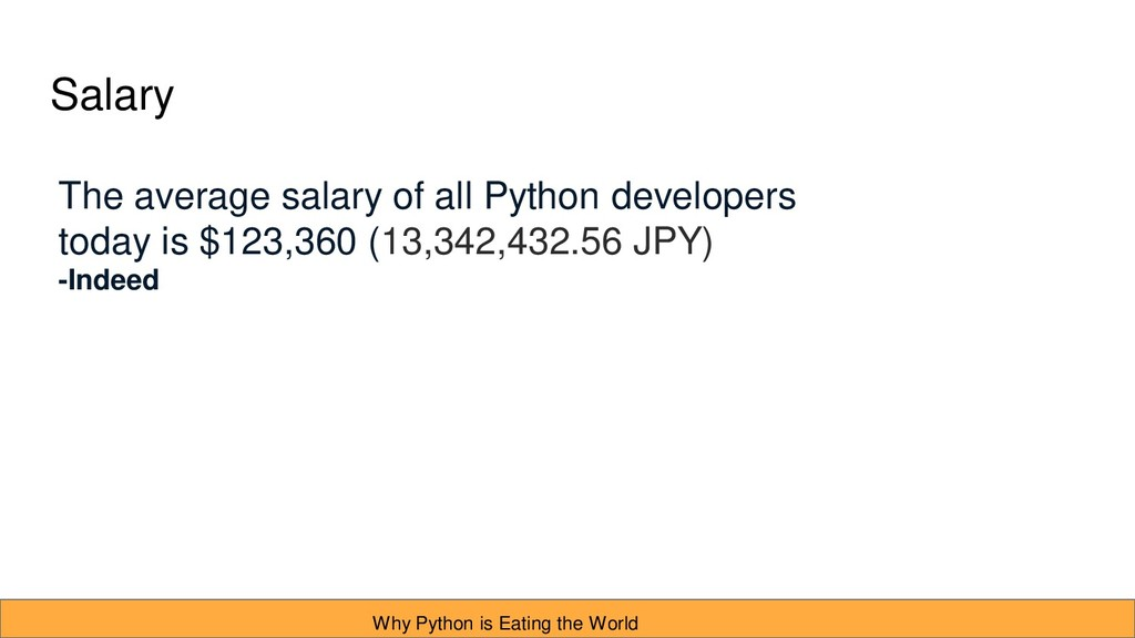 Salary The average salary of all Python develop...