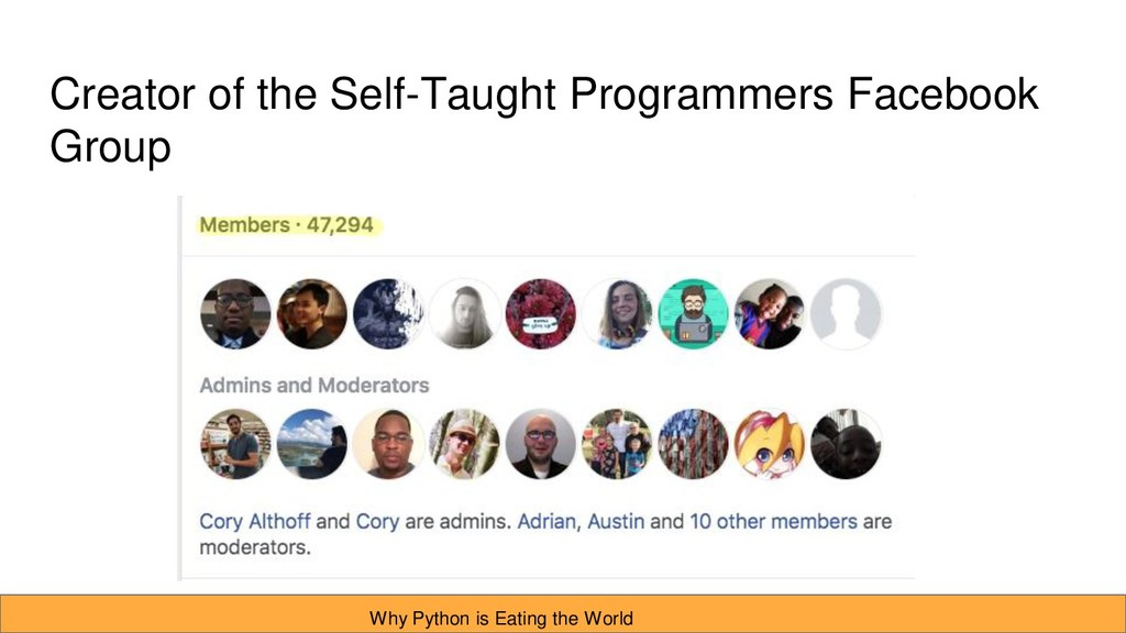 Creator of the Self-Taught Programmers Facebook...