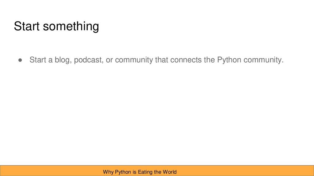 Start something ● Start a blog, podcast, or com...