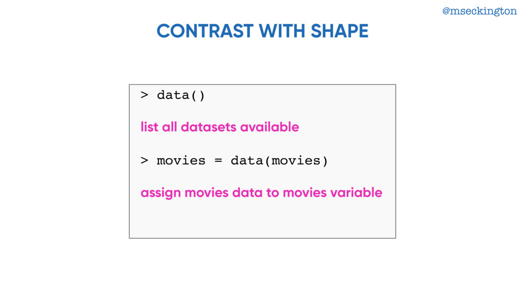 @mseckington CONTRAST WITH SHAPE > data() list ...