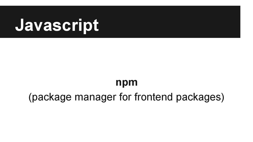 Javascript npm (package manager for frontend pa...