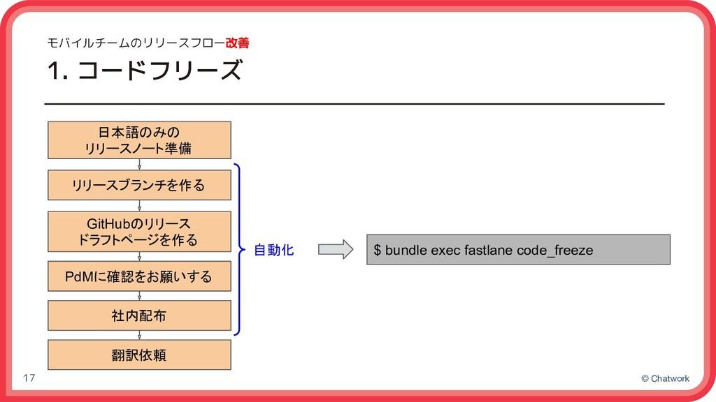 © Chatwork モバイルチームのリリースフロー改善 1. コードフリーズ 17 $ bu...