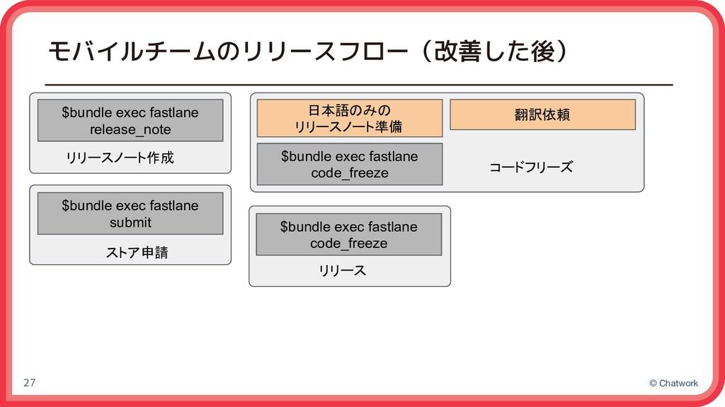 © Chatwork モバイルチームのリリースフロー(改善した後) 27 日本語のみの リリー...