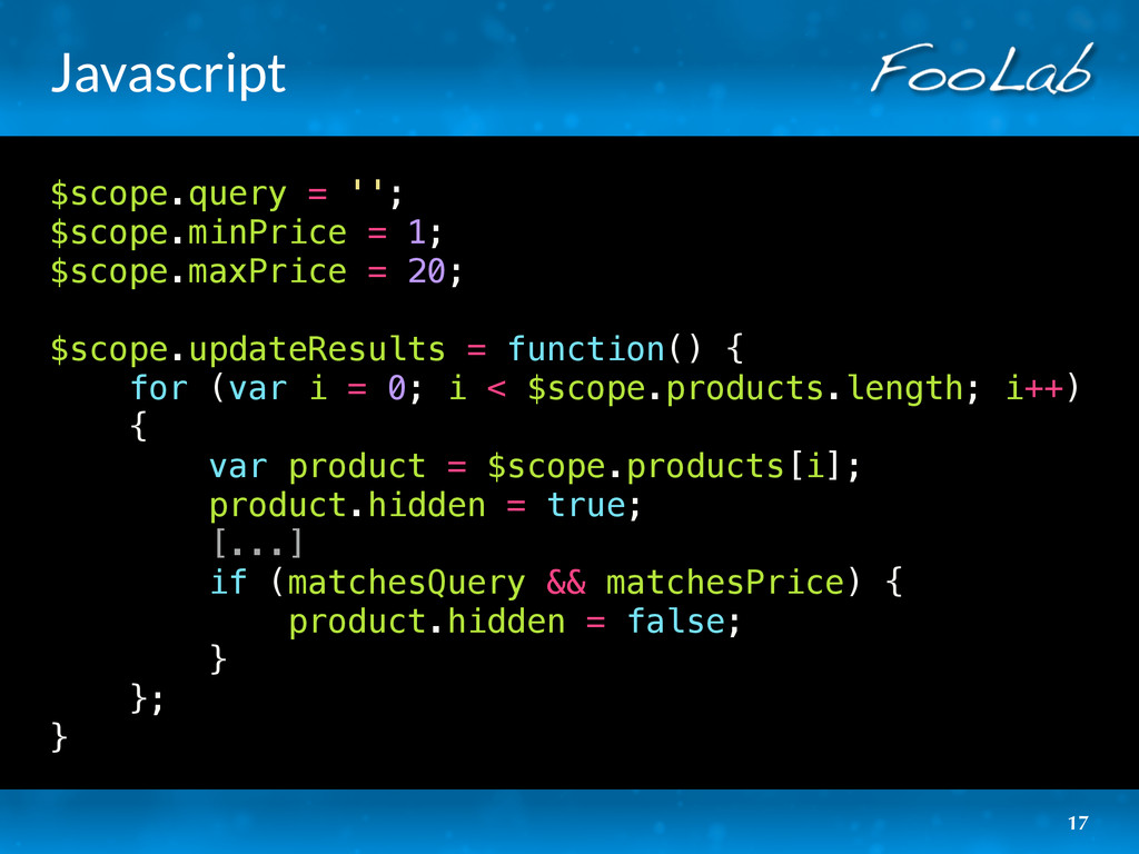 Javascript $scope.query = ''; $scope.minPrice =...