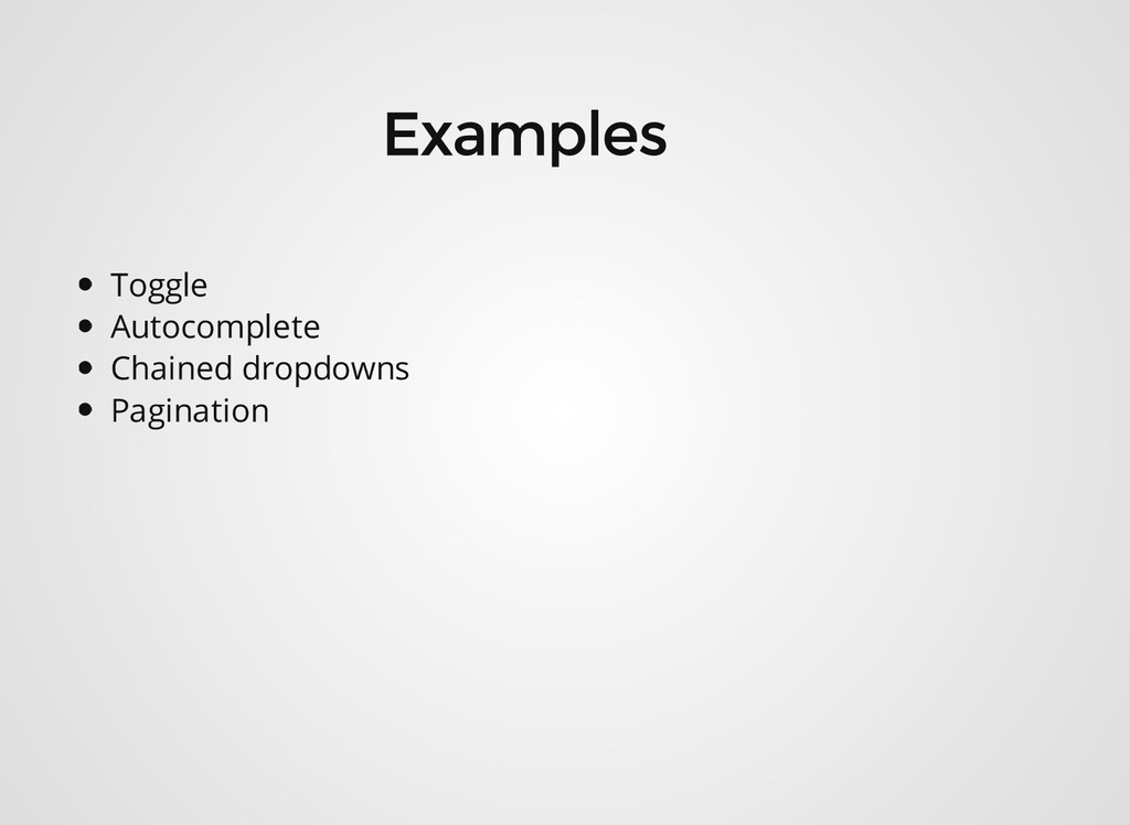 Toggle Autocomplete Chained dropdowns Pagination