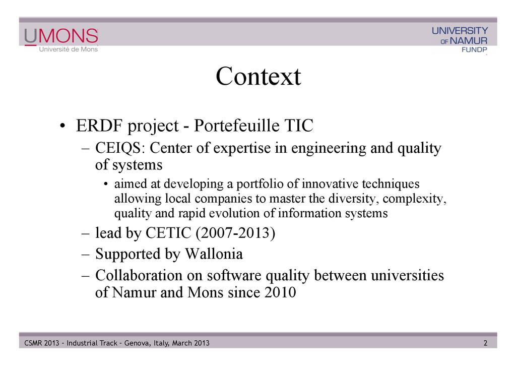 Context • ERDF project - Portefeuille TIC – C...
