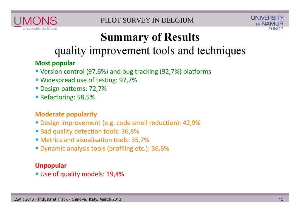 Summary of Results quality improvement tools an...