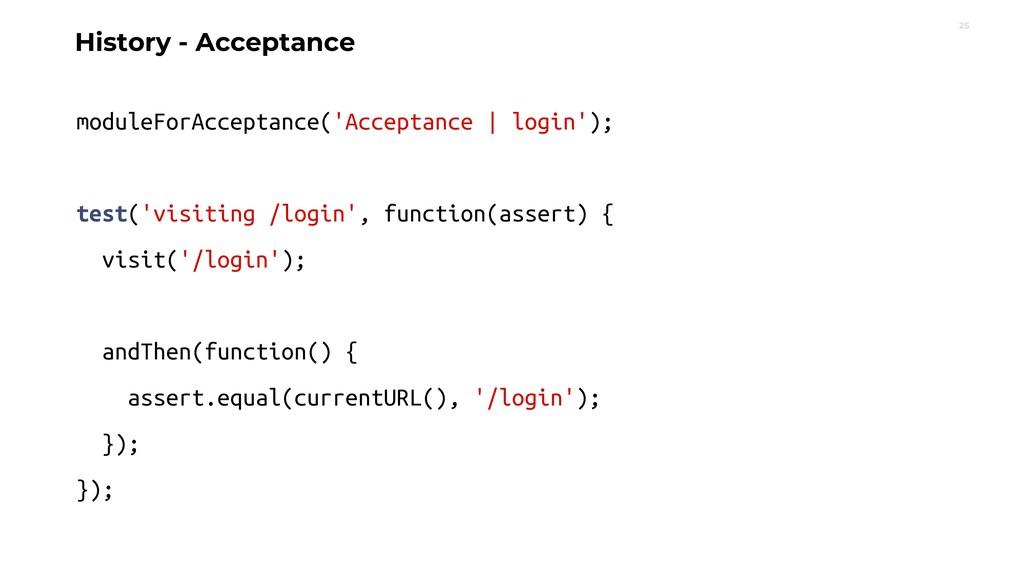 25 moduleForAcceptance('Acceptance | login'); t...