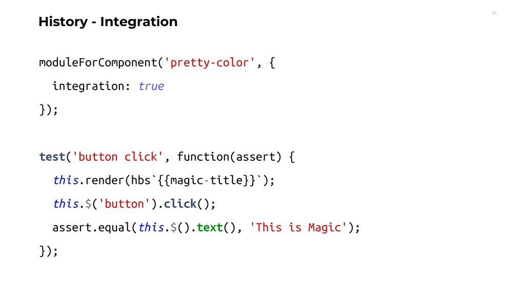 26 History - Integration moduleForComponent('pr...