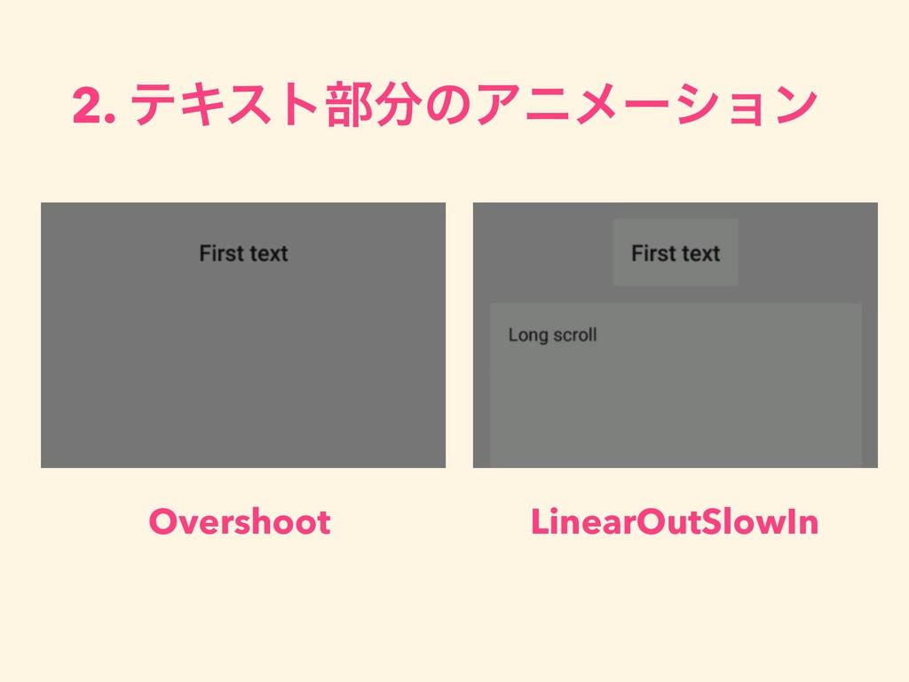 2. ςΩετ෦ͷΞχϝʔγϣϯ Overshoot LinearOutSlowIn