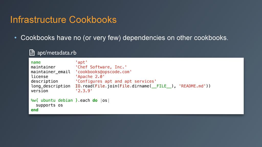 Infrastructure Cookbooks • Cookbooks have no (o...