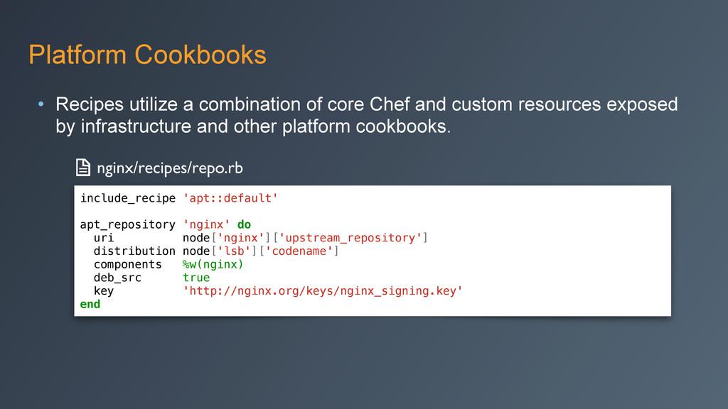 Platform Cookbooks • Recipes utilize a combinat...