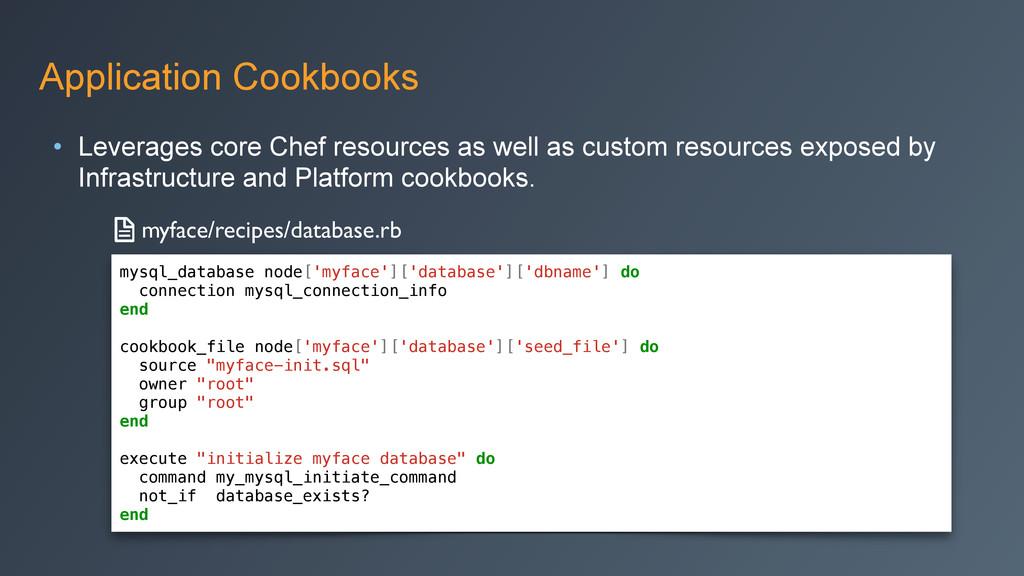 Application Cookbooks • Leverages core Chef res...