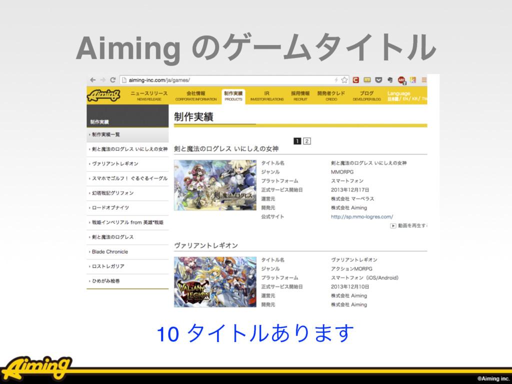 Aiming ͷήʔϜλΠτϧ 10 λΠτϧ͋Γ·͢