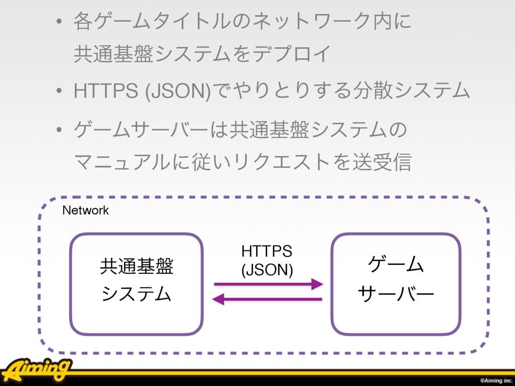 • ֤ήʔϜλΠτϧͷωοτϫʔΫʹ ڞ௨ج൫γεςϜΛσϓϩΠ • HTTPS (JSO...