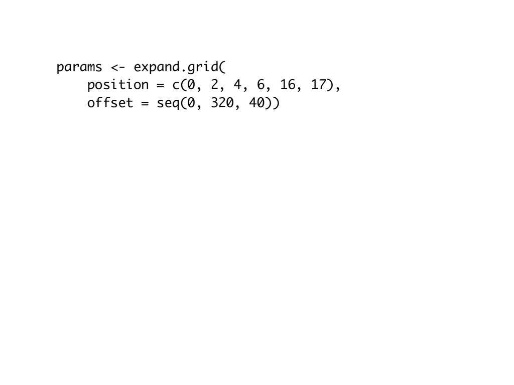 params <- expand.grid( position = c(0, 2, 4, 6,...