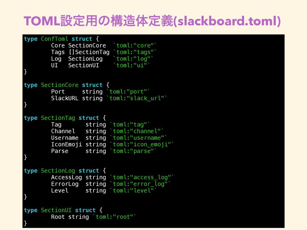 TOMLઃఆ༻ͷߏମఆٛ(slackboard.toml) type ConfToml st...