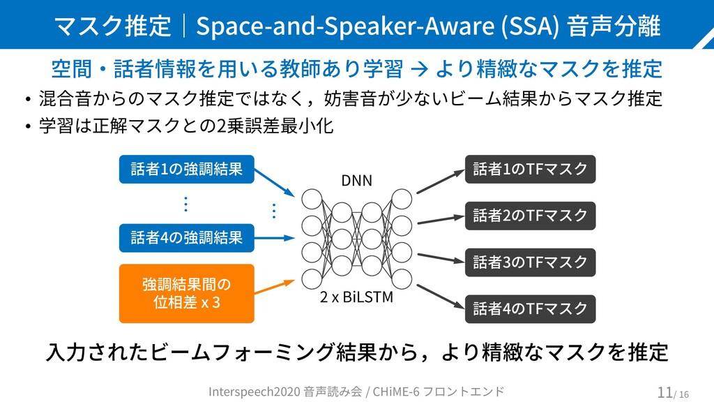 マスク推定|Space-and-Speaker-Aware (SSA) 音声分離 空間・話者情...