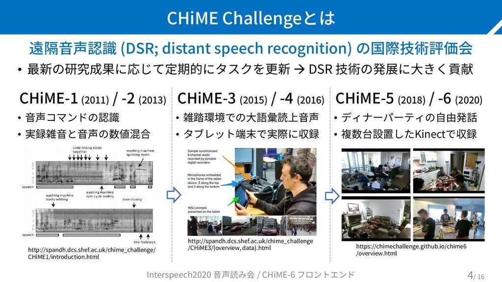 CHiME Challengeとは 遠隔音声認識 (DSR; distant speech r...