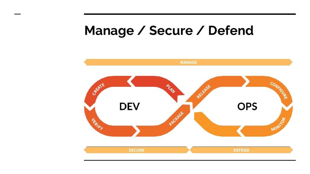 Manage / Secure / Defend