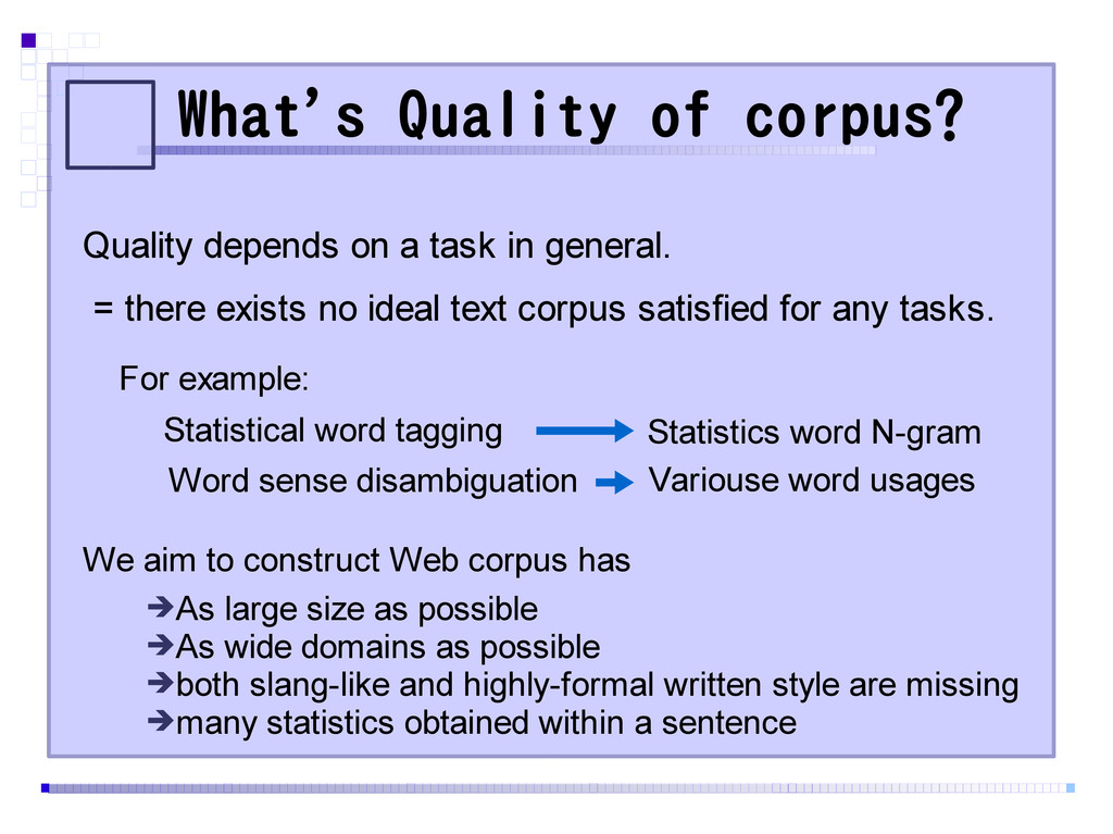 What's Quality of corpus? Quality depends on a ...