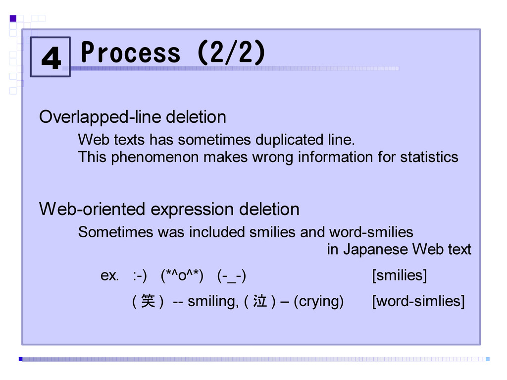 Process (2/2) Overlapped-line deletion Web text...