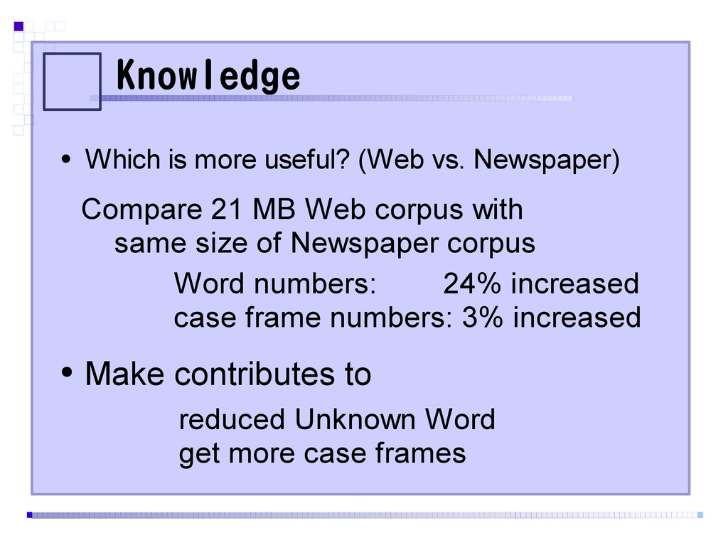 Knowledge ● Which is more useful? (Web vs. News...