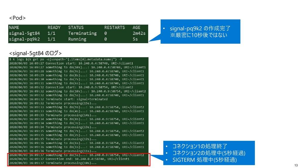 13 <Pod> <signal-5gt84 のログ> • コネクション1の処理終了 • コネ...