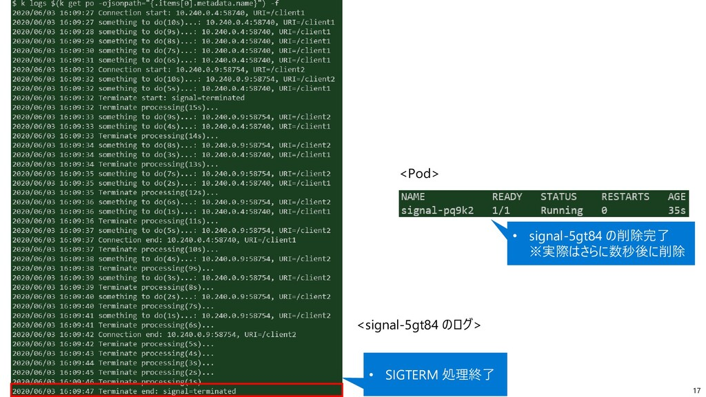17 • SIGTERM 処理終了 <signal-5gt84 のログ> • signal-5...