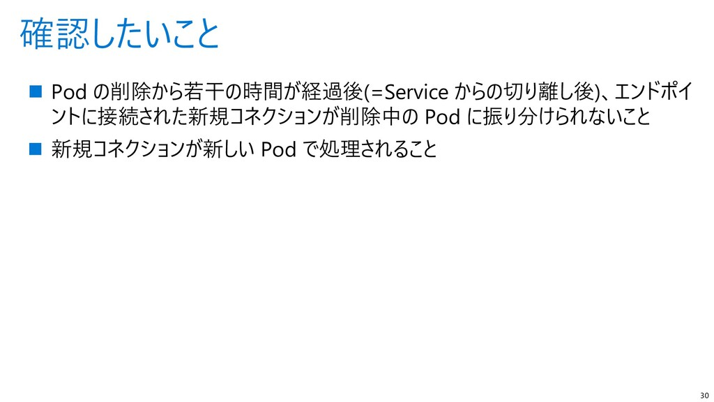 確認したいこと 30  Pod の削除から若干の時間が経過後(=Service からの切り離...