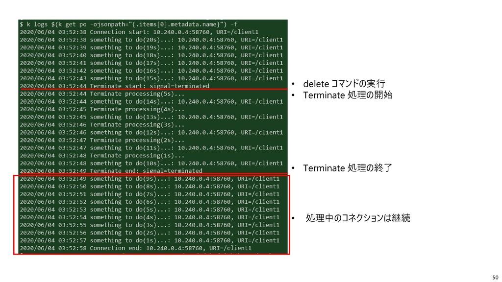 50 • delete コマンドの実行 • Terminate 処理の開始 • Termina...