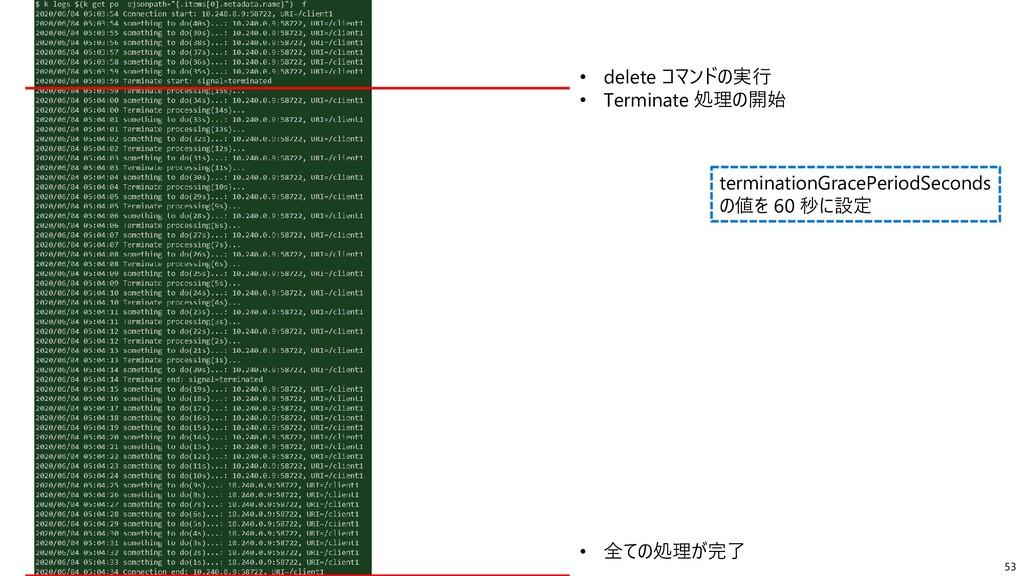 53 • delete コマンドの実行 • Terminate 処理の開始 • 全ての処理が完...