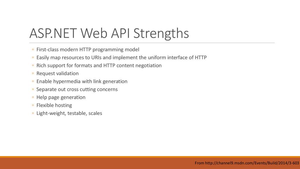 ASP.NET Web API Strengths ◦ First-class modern ...