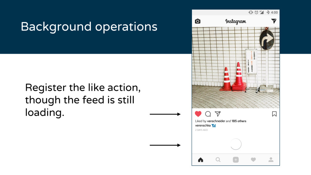 Background operations Register the like action,...