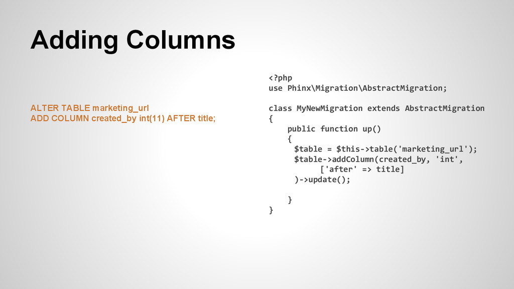 Adding Columns ALTER TABLE marketing_url ADD CO...