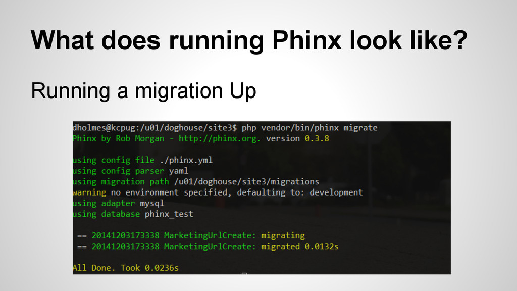 What does running Phinx look like? Running a mi...