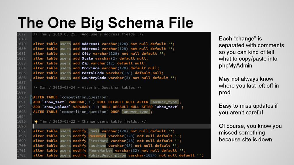 "The One Big Schema File Each ""change"" is separa..."