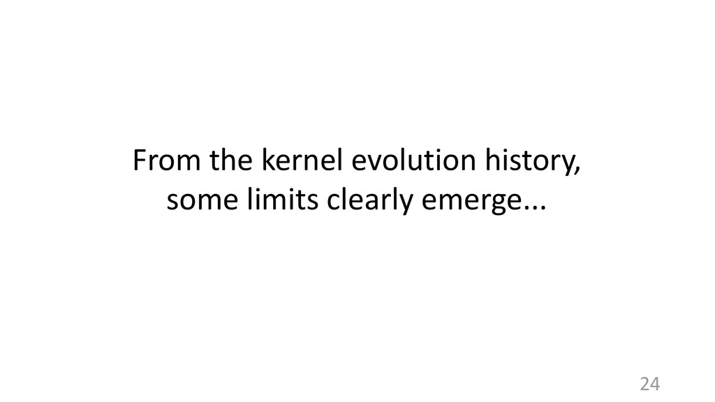 From the kernel evolution history, some limits ...