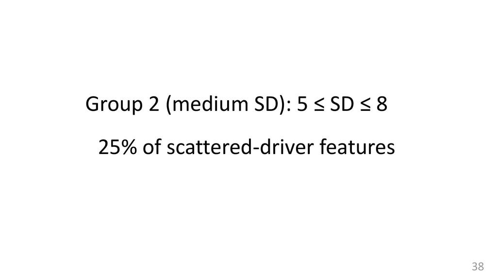38 Group 2 (medium SD): 5 ≤ SD ≤ 8 25% of scatt...